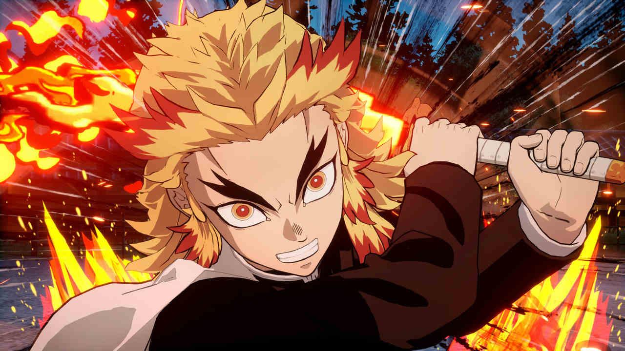 Jogo de Demon Slayer com foco no personagem Kyojuro Rengoku