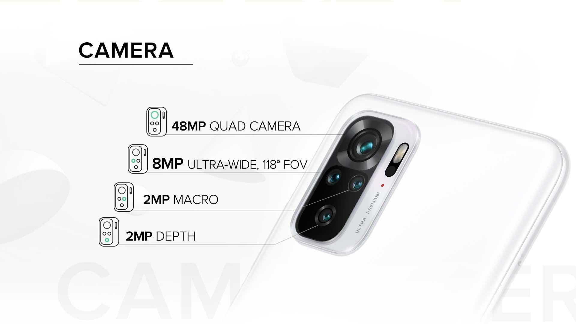 Imagem que ilustra o conjunto de câmeras do Redmi Note 10.