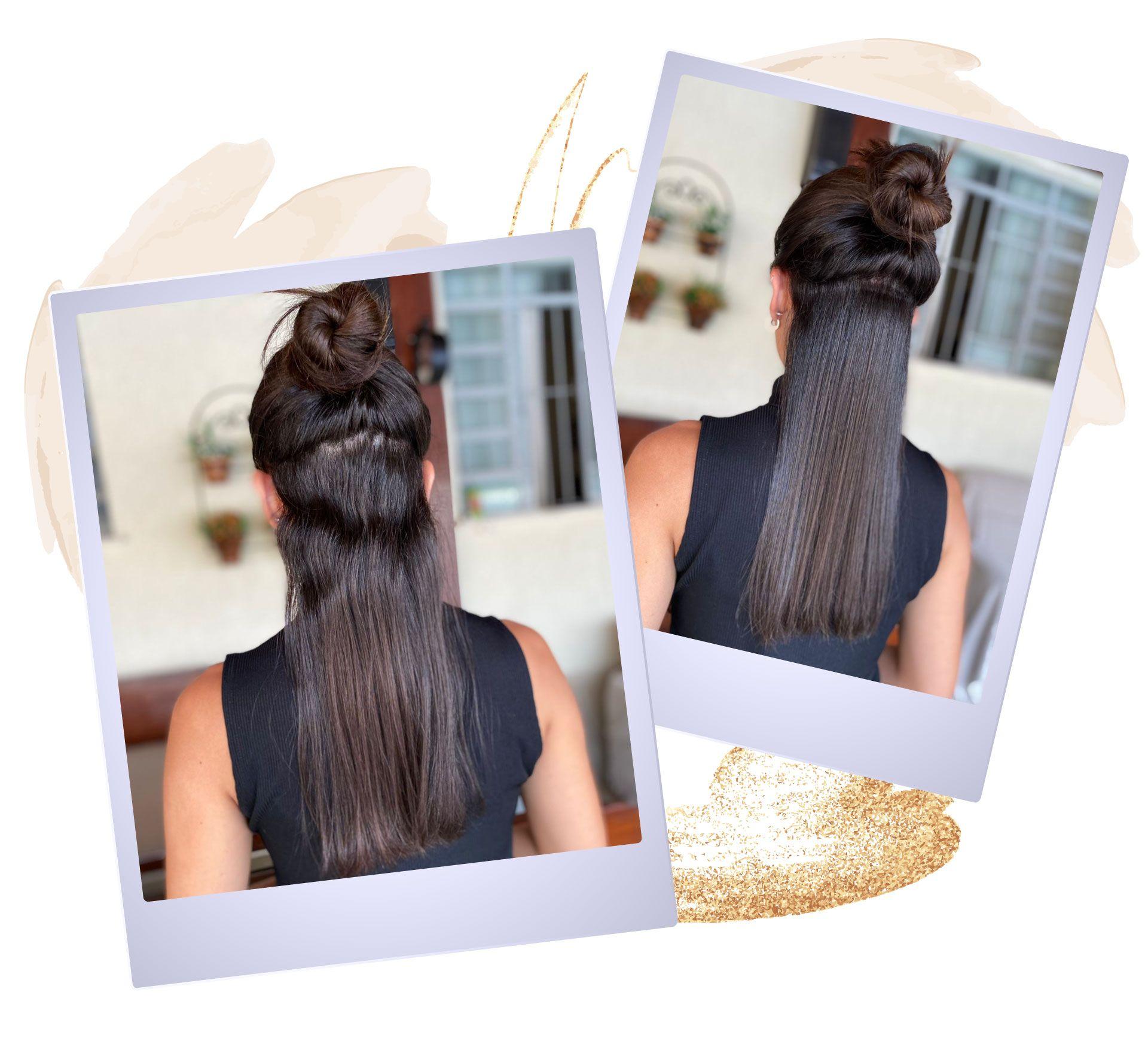 Duas fotos de mulher de costas, uma com cabelo ondulado e outra com cabelo liso