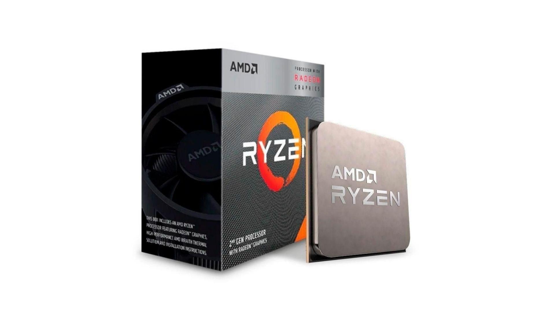 Caixa do AMD ryzen 3 com o processador na frente