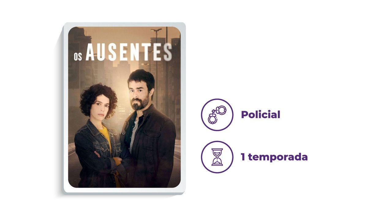 """Capa da série """"Os Ausentes"""" ao lado dos escritos """"Policial"""" e """"1 temporada"""""""