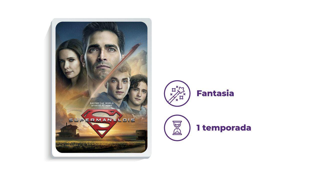 """Imagem de divulgação da série """"Superman & Lois"""" ao lado dos escritos """"Fantasia"""" e """"1 temporada"""""""