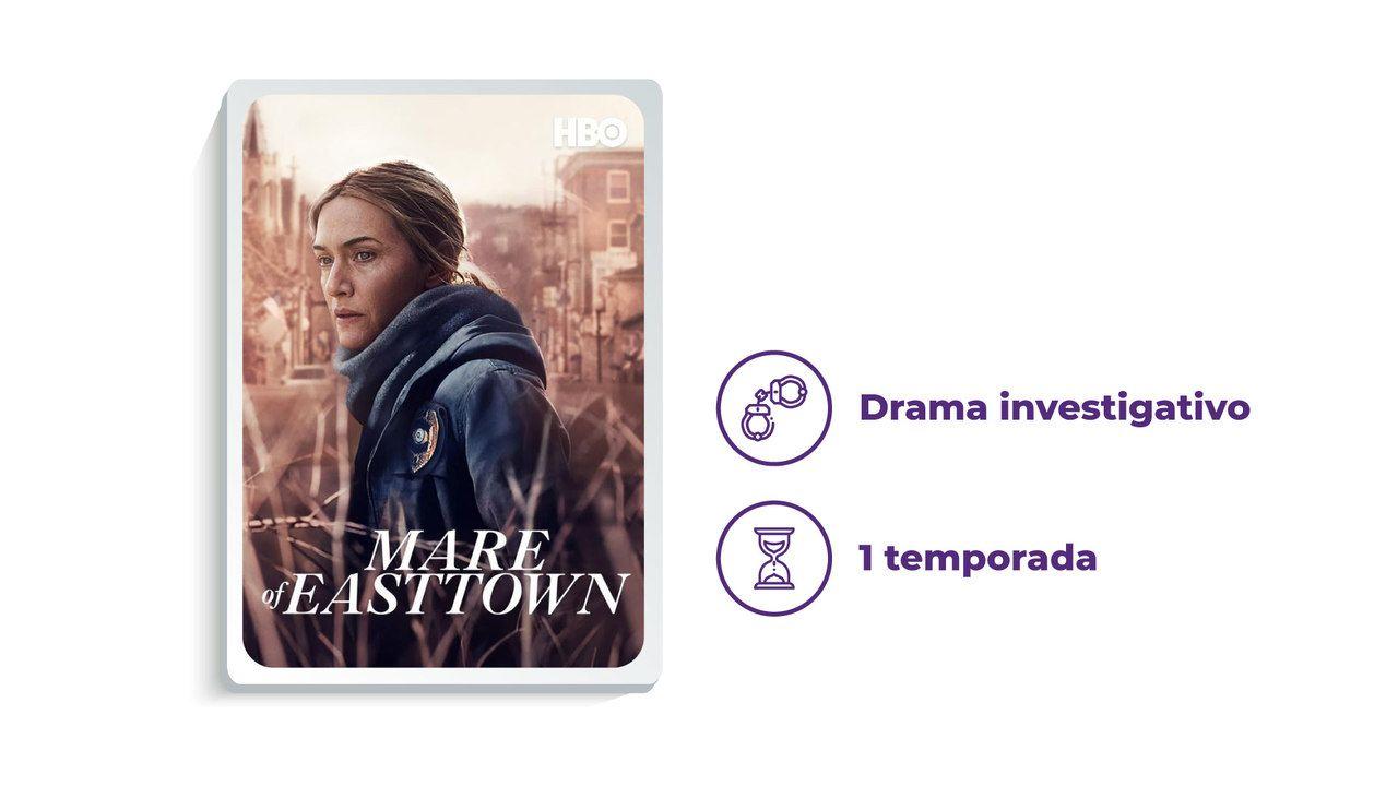 """Imagem de divulgação da série """"Mare of Easttown"""" ao lado dos escritos """"Drama investigativo"""" e """"1 temporada"""""""