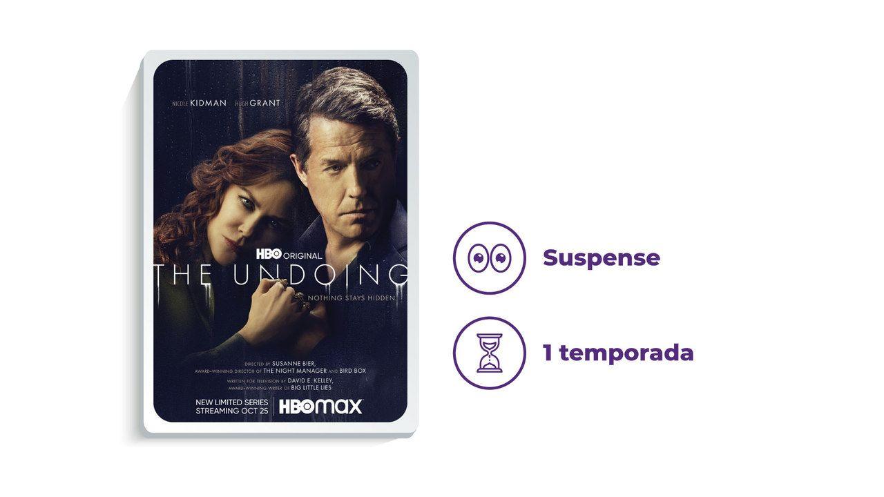 """Imagem de divulgação da série """"The Undoing"""" ao lado dos escritos """"Suspense"""" e """"1 temporada"""""""