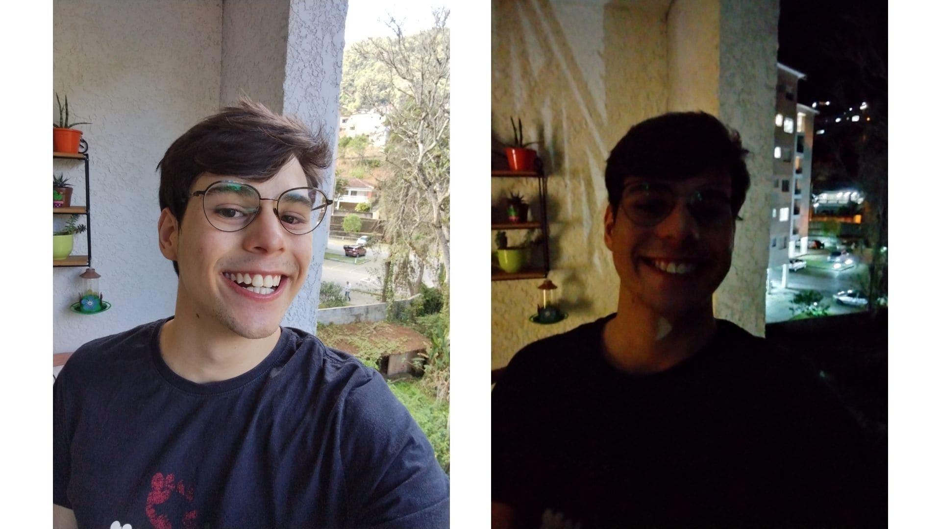 Duas selfies de um homem feitas com o Moto G10