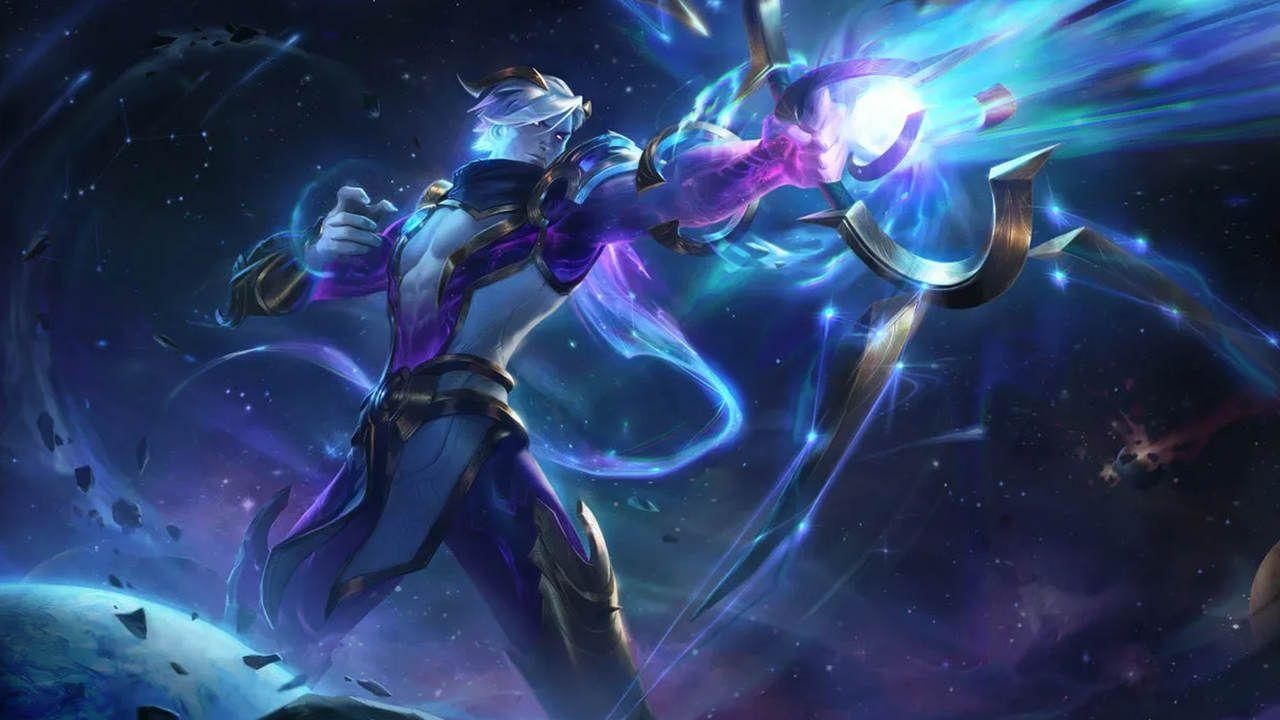 LoL skin de Varus Caçador Cósmico com seu arco e flecha