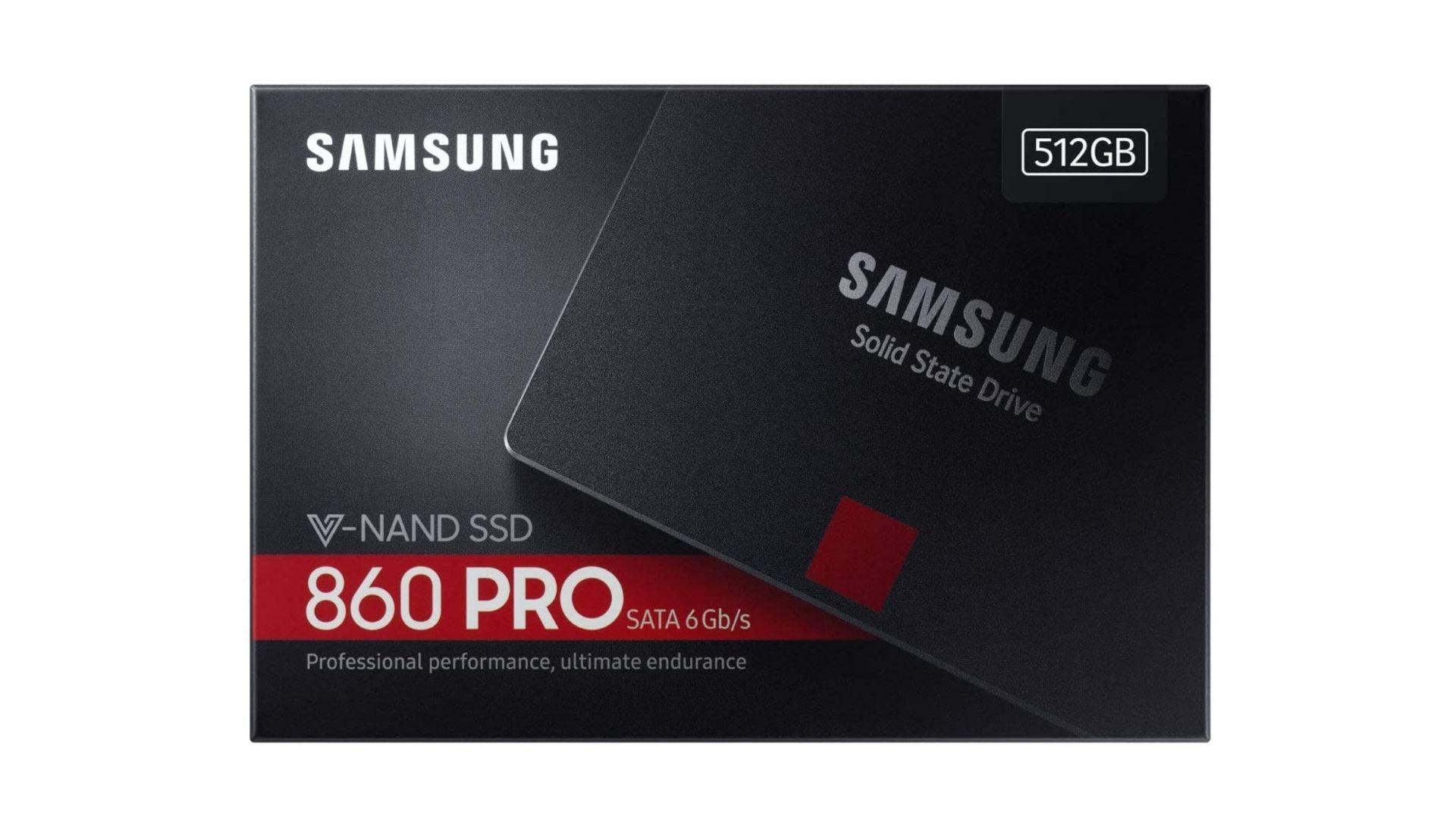 SSD 512GB Samsung 860 Pro com foto do SSD e informações na caixa