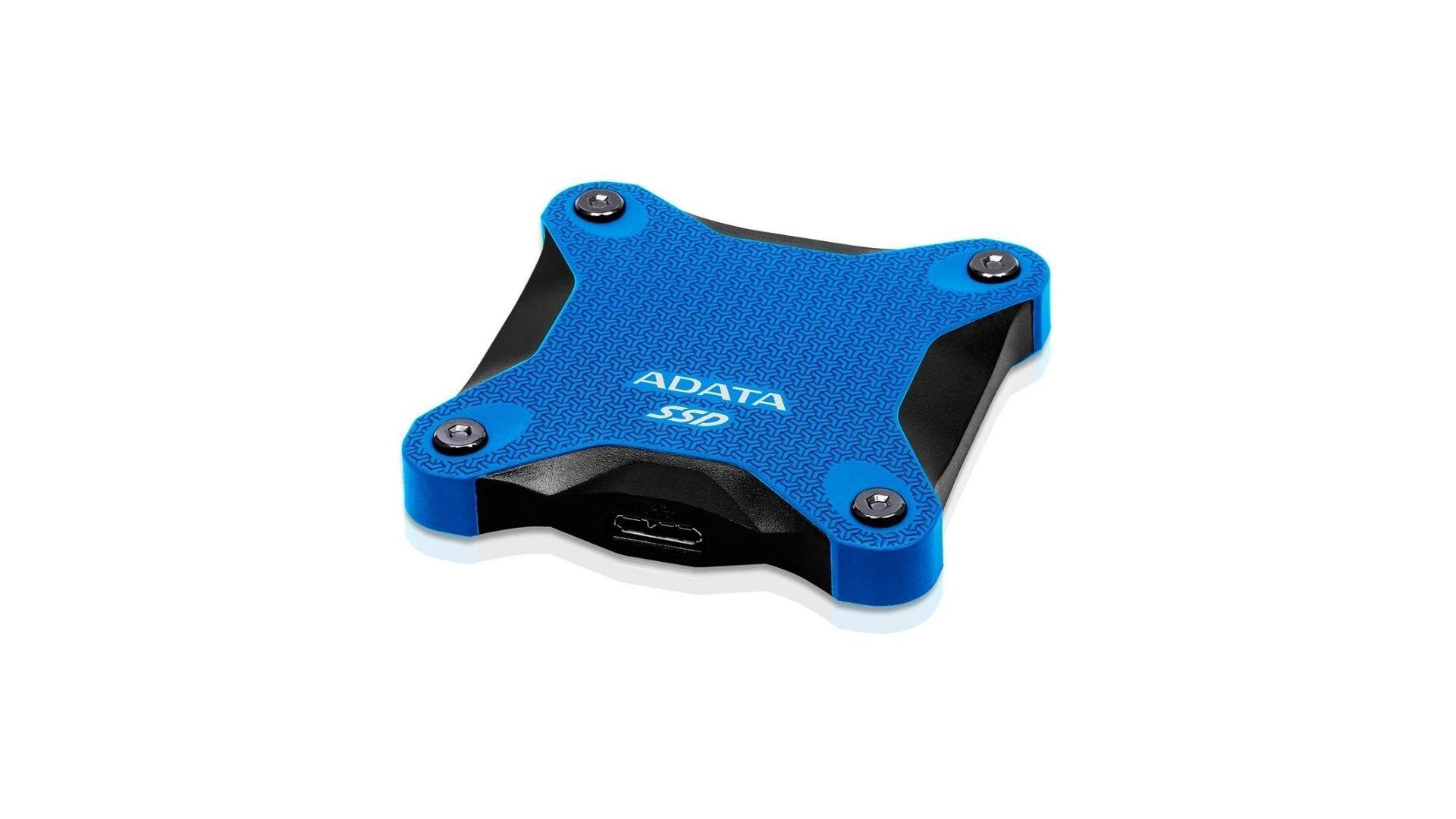 SSD Externo azul da marca Adata