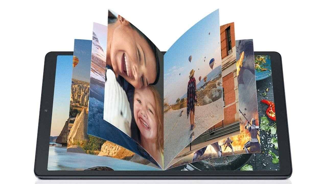 Imagem com um livro saindo de dentro do tablet para ilustrar a capacidade de armazenamento do Galaxy Tab A7 Lite