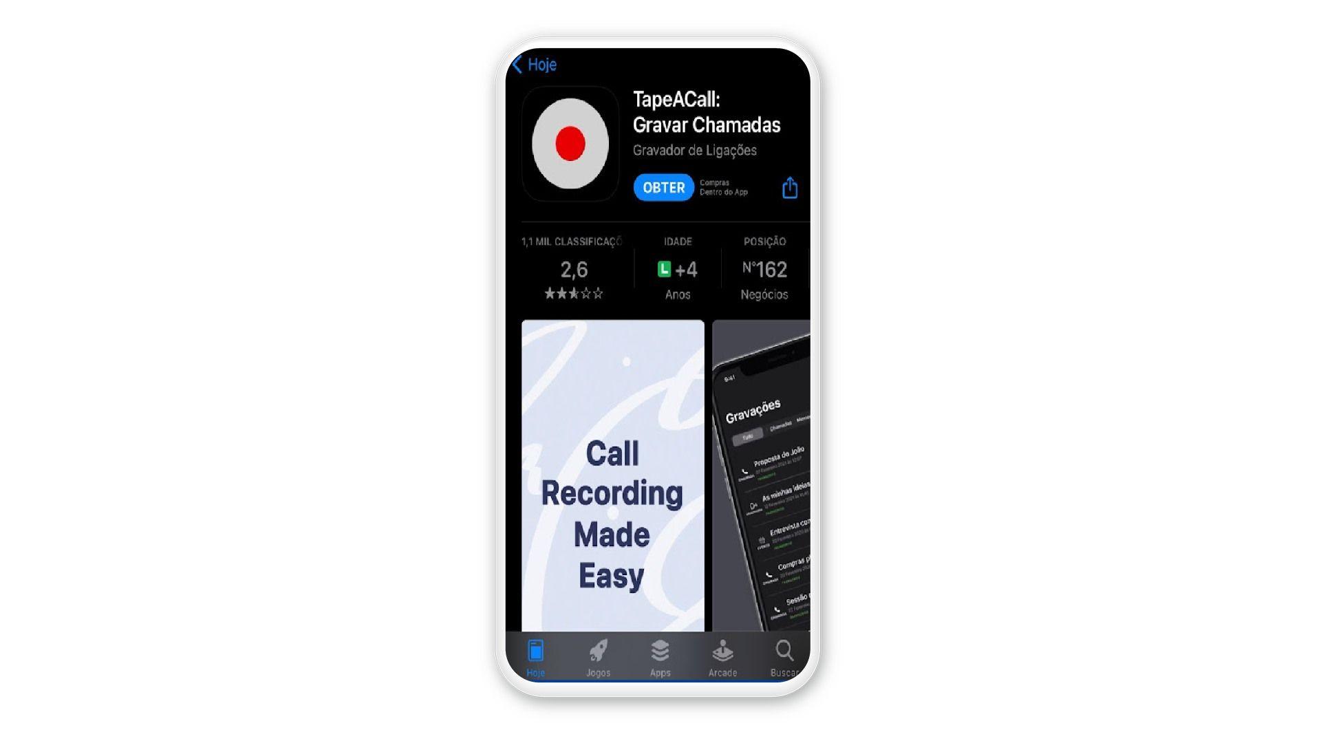 Tela do iPhone com App Store aberta no aplicativo TapeACall