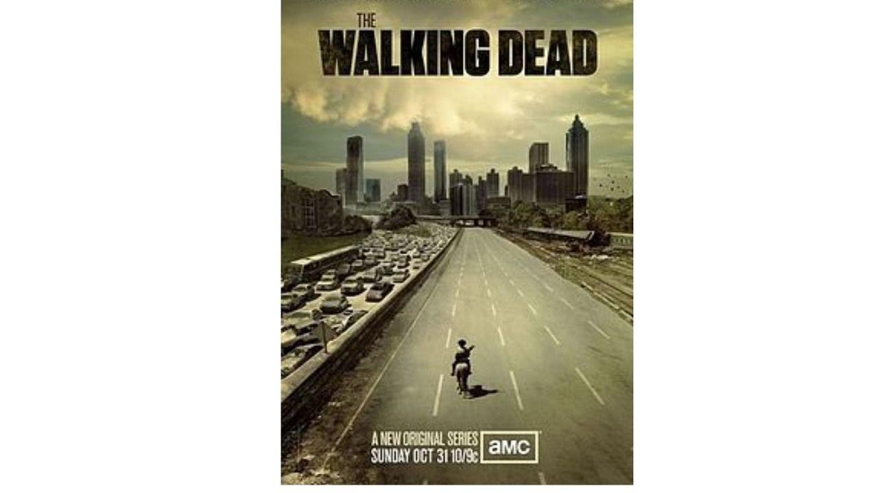 Rick Grimes cavalga por uma estrada abandonada no poster de estreia de The Walking Dead