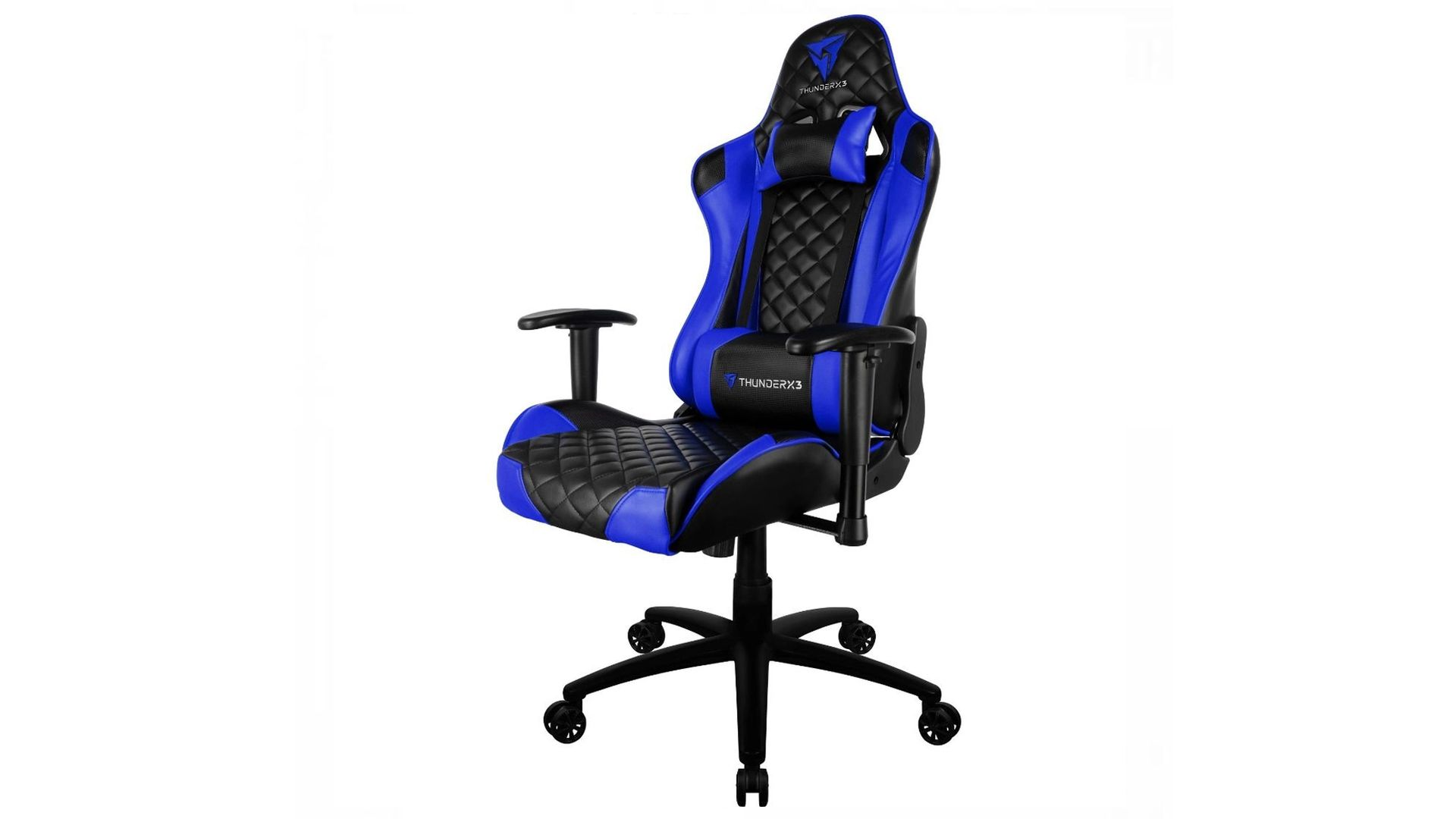 Cadeira gamer azul e preta TGC12 ThunderX3 em destaque