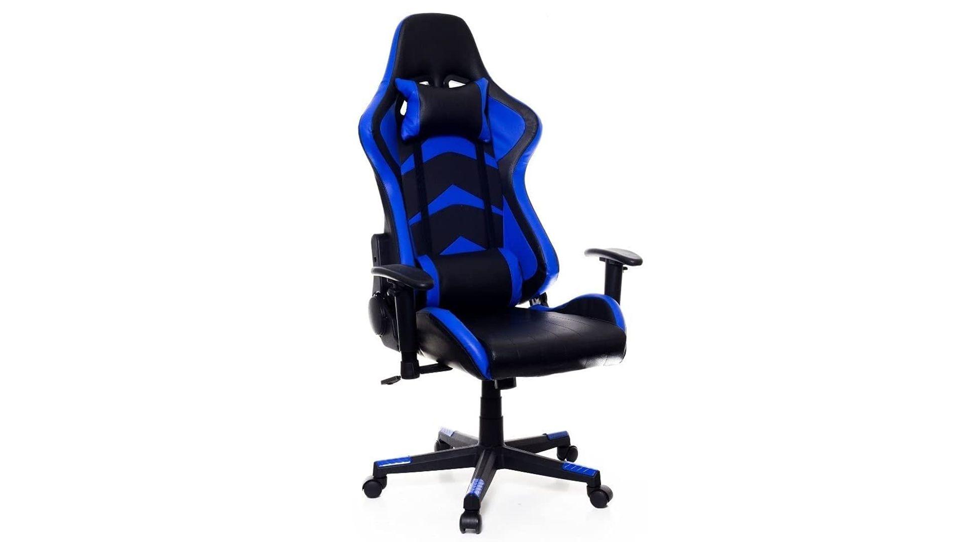 Destaque da cadeira gamer azul e preta Warrior Prizi