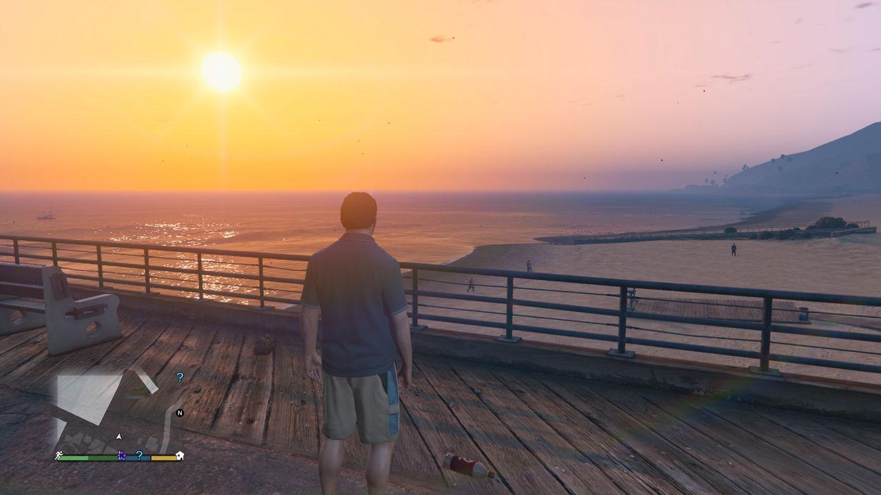 Cenário praia de Los Santos, do GTA V