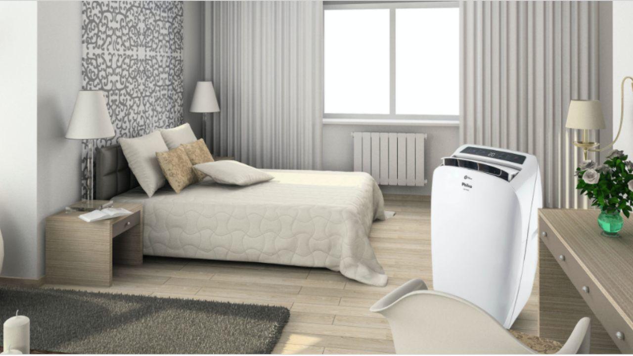 Ar-condicionado portátil Philco 5 em 1 instalado em quarto