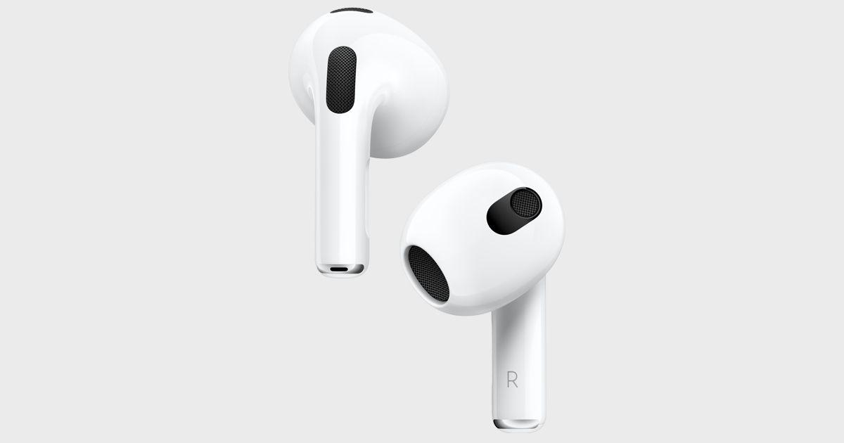 Fones de ouvido AirPods 3, da Apple, brancos em fundo branco.