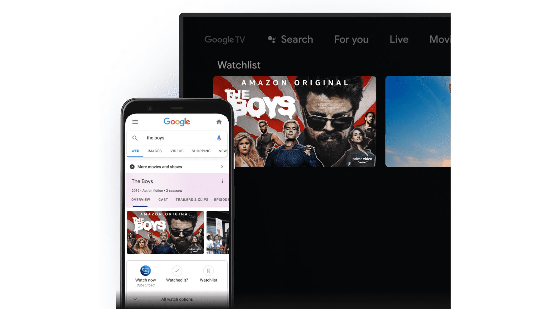 """Foto de uma TV com o recurso Watchlist na tela. Nela, a série The Boys aparece em evidência. Ao lado, um celular aberto no Google pesquisa por """"The Boys"""""""