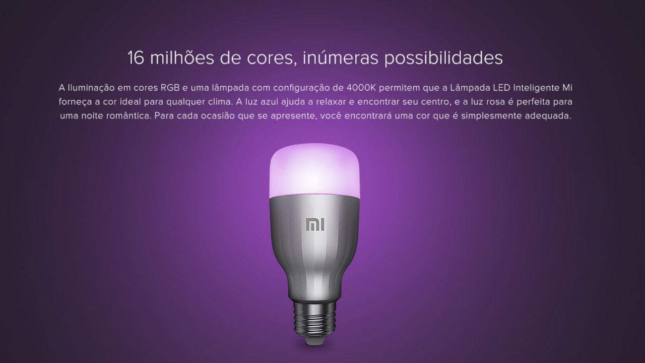 """Lâmpada inteligente Xiaomi Smart Bulb em fundo roxo, com a frase """"16 milhões de cores, inúmeras possibilidades"""" escrita acima do aparelho"""