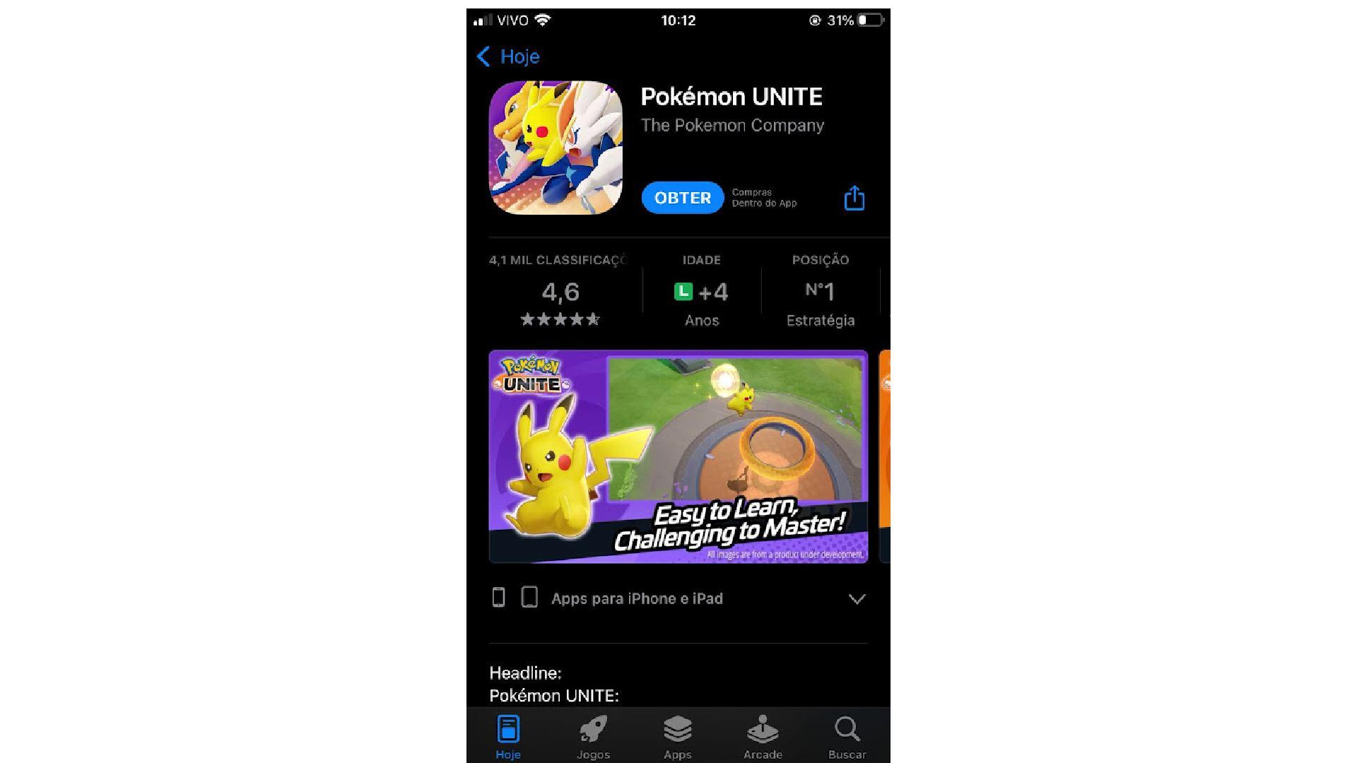 Print de tela do iPhone do download do Pokémon UNITE