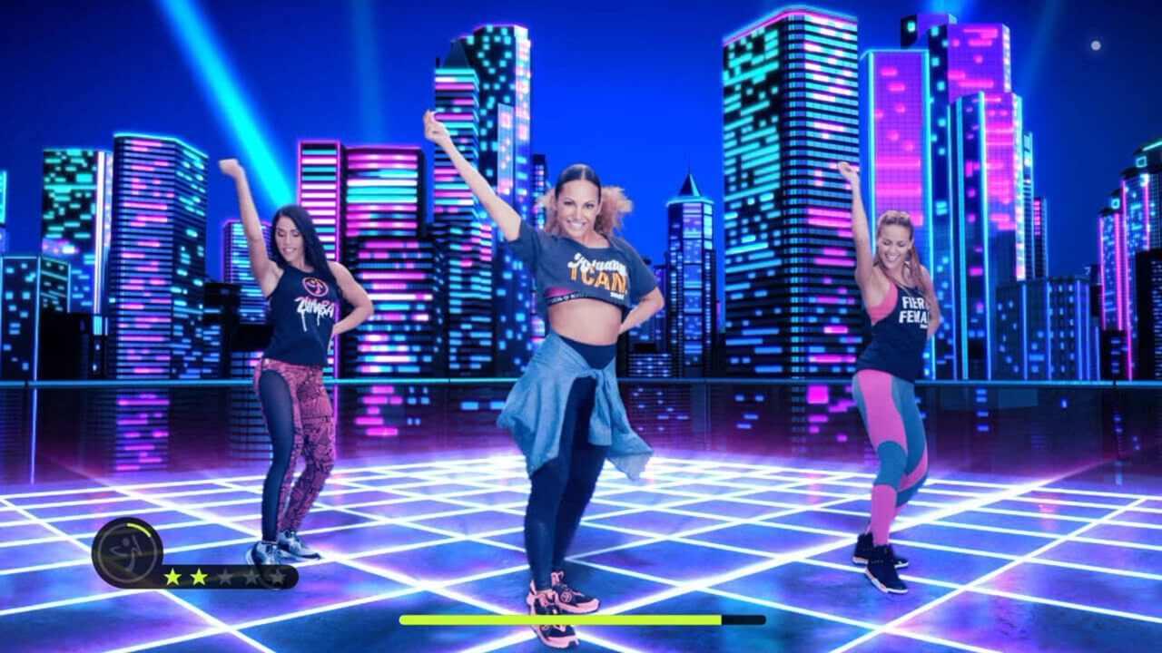 Personagens de Zumba Burn it Up! dançando